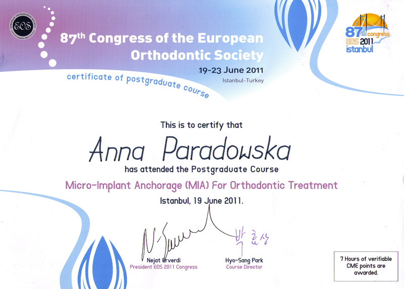 87th congress of european orthodontic Society 2011 Micro Implant
