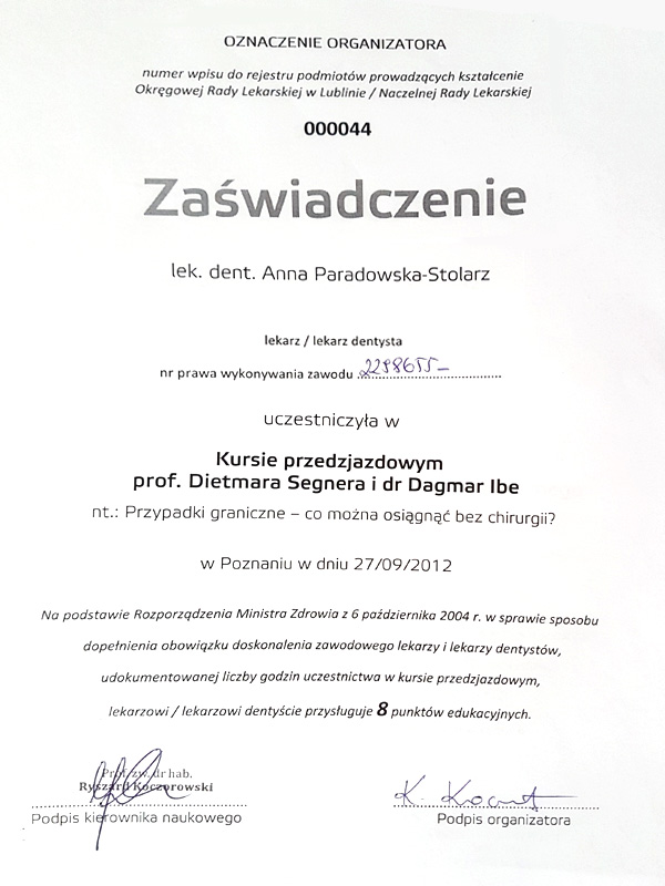 Kurs przedzjazdowy prof. Dietmara Segnera i dr Dagmar Ibe