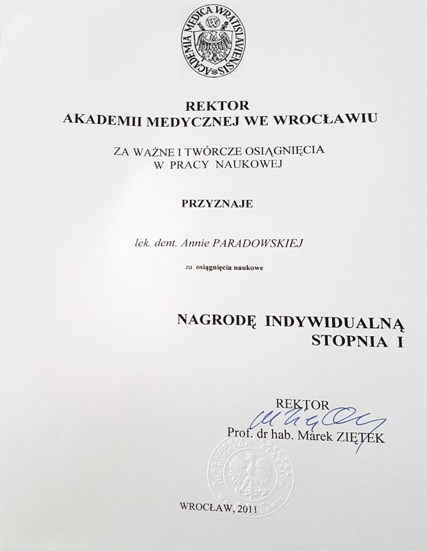 Nagroda Indywidualna Stopnia 1 Rektora Akademii Medycznej We Wrocławiu